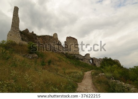 ruins of medieval ancient dark castle in europe