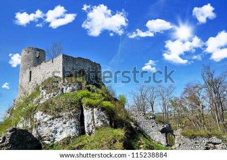 "Ruins of medieval castle "" Smolen "" in Poland. Jura Krakowsko-Czestochowska - stock photo"