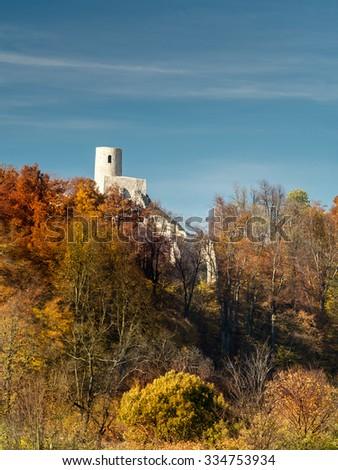 Ruins of medieval castle Smolen, near Pilica. Krakow-Czestochowa Upland, Poland - stock photo