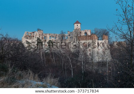 Ruins of medieval castle Teczyn in Rudno, Poland, in the evening