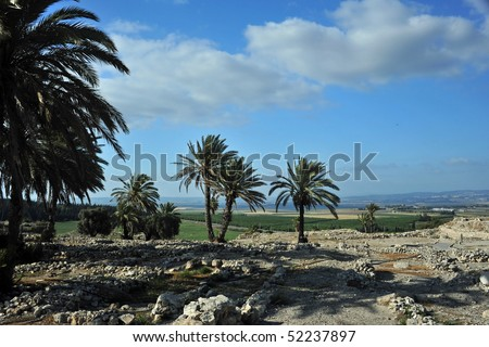 ruins of megiddo overlooking the valley of Jezreel where battle of armageddon will take place