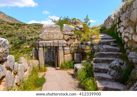 Ruins of Mycenae, center of Greek civilization, Peloponnese, Greece. Mycenae is a famous archaeological site in Greece. UNESCO World Heritage Site - stock photo
