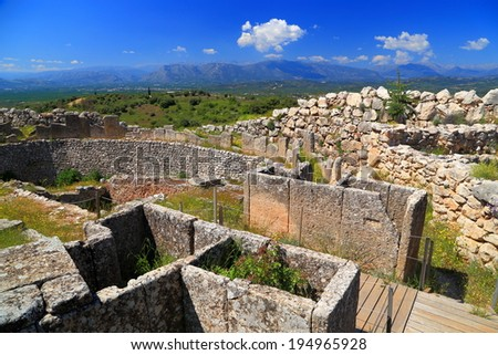 Ruins of Mycenae, one of the major centers of Greek civilization, Peloponnese, Greece - stock photo