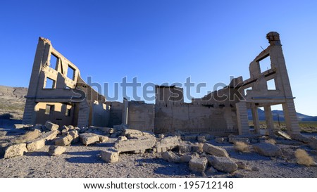 Ruins of Old Bank Building in Rhyolite Ghost Town, NV - stock photo