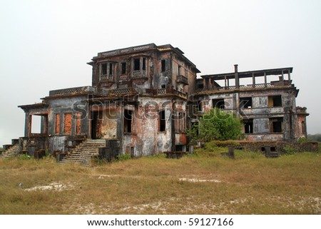 Ruins of old french hotel in Bokor, Cambodia - stock photo
