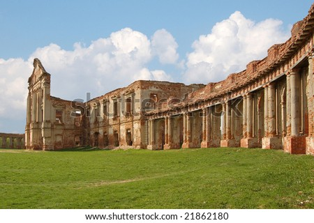 ruins of old palace at background of sky