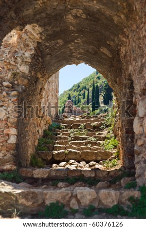 Ruins of old town in Mystras, Greece - archaeology background - stock photo