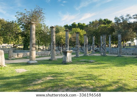 Ruins of Olympia in Greece-Peloponnese - stock photo