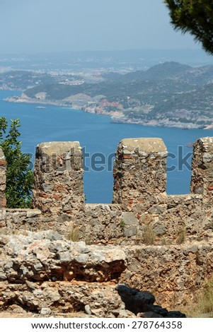 Ruins of Ottoman fortress in Alanya . Turkey.