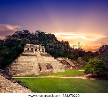 Ruins of Palenque, Maya city in Chiapas, Mexico - stock photo