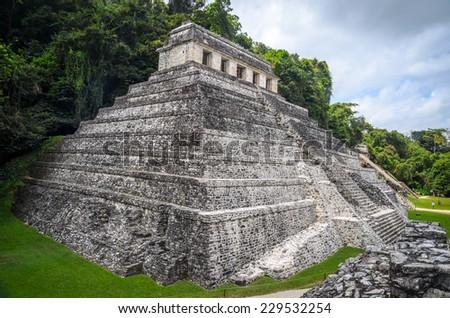 Ruins of Palenque, Maya city in Chiapas, Mexico - stock photo