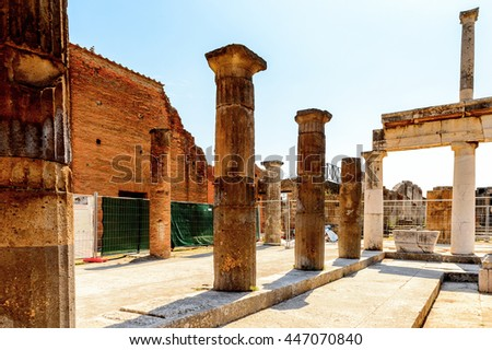 RUins of Pompeii, an ancient Roman town destroyed by the volcano Vesuvius. UNESCO World Heritage site - stock photo