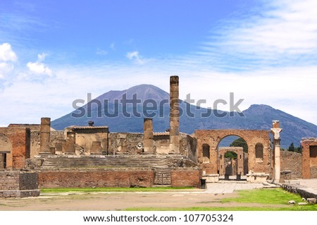 Ruins of Pompeii and volcano Mount Vesuvius, Italy - stock photo