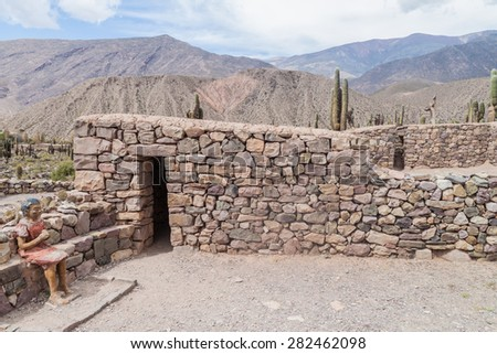 Ruins of pre-Columbian fortification Pucara near Tilcara village in Quebrada de Humahuaca valley, Argentina - stock photo