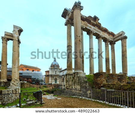 Ruins of Roman Forum in Rome, Italy.