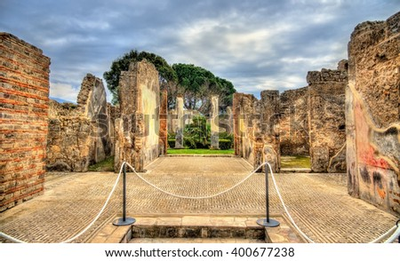 Ruins of Roman houses in Pompeii - Italy - stock photo