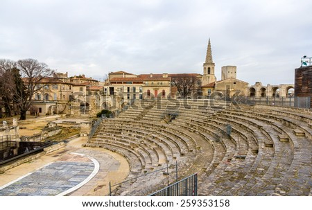 Ruins of roman theatre in Arles - UNESCO heritage site in France - stock photo