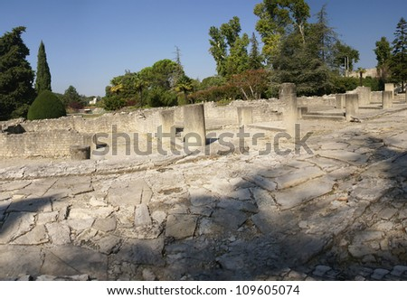 Ruins of Roman villas  in the Villasse Roman ruins, Vaison la Romaine, France