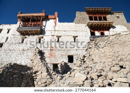 Ruins of royal palace in Tiger or Tiggur village in Nubra valley, Ladakh, Jammu and Kashmir, India - Nubra valley was old kingdom in Karakoram mountains