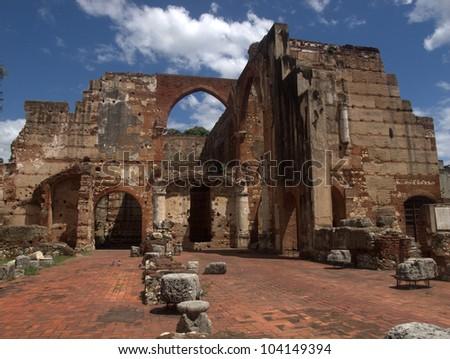 Ruins of San Nicolas de Bari, the first  hospital in the Western Hemisphere, Santo Domingo, Dominican Republic - stock photo
