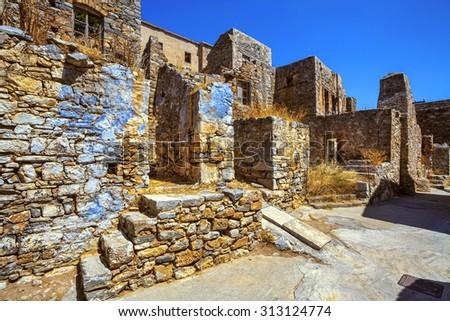 Ruins of Spinalonga.  - stock photo