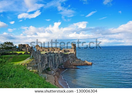 Ruins of St Andrews Castle, Fife, Scotland, United Kingdom - stock photo