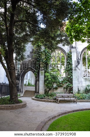 Ruins of St Dunstan-in-the-East Church in London, UK