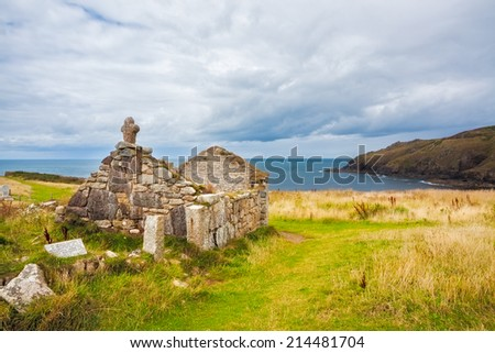 Ruins of St Helens Oratory an early Christian structure at Cape Cornwall near St Just Cornwall England UK Europe