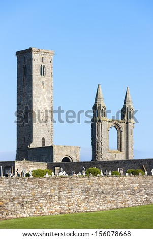 ruins of St. Rule's church and cathedral, St Andrews, Fife, Scotland - stock photo