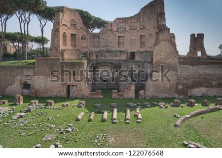 Ruins of Stadium Domitanus at the Palatine Hill in Rome, Italy - stock photo