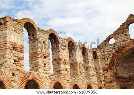 Ruins of Stara Mitropolia Basilica in Nessebar-  is an ancient city  on the Black Sea coast of Bulgaria.  It is one of the oldest towns in Europe - stock photo