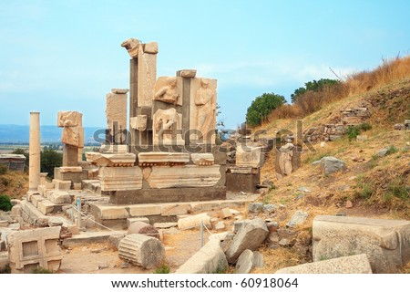 Ruins of statues in ancient city of Ephesus, Turkey