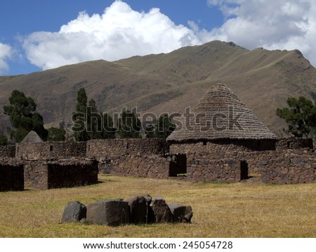 Ruins of storehouses in the city of Raqchi, Cusco Region, Canchis Province, San Pedro District, Peru - stock photo