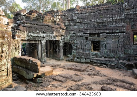 Ruins of Ta Prohm temple at Angkor Wat complex, Siem Reap, Cambodia