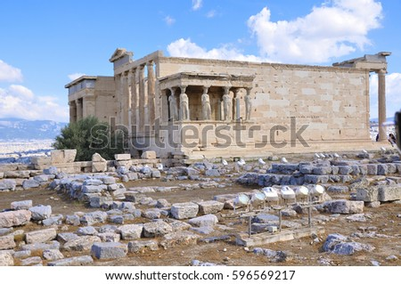 Ruins of the Acropolis of Athens in Greece on a cloudy day