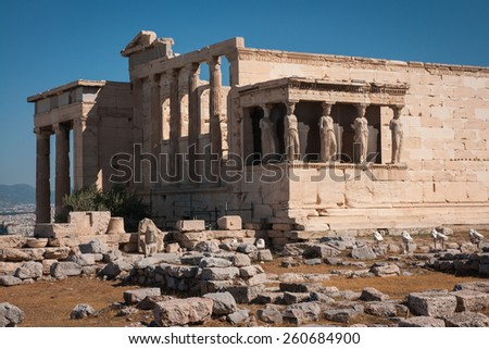 Ruins of the ancient Acropolis in Athens, Attica, Greece