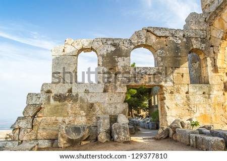 Ruins of the ancient castle of Syria. - stock photo
