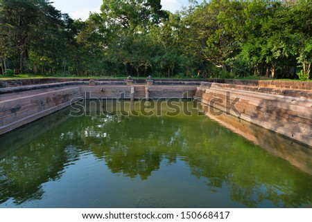 Ruins of the ancient city Anuradhapura, Sri Lanka. Kuttam Pokuna (twin ponds) are bathing tanks or pools in ancient Sri Lanka.
