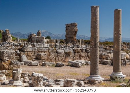 Ruins of the ancient city of Perge, Turkey