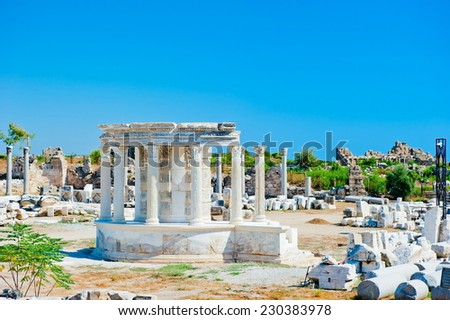 ruins of the ancient city of Side, a local landmark - stock photo