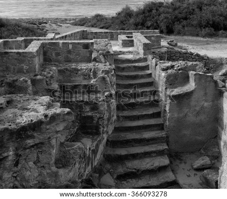 ruins of the ancient Greek city in Cyprus. black and white photo  - stock photo