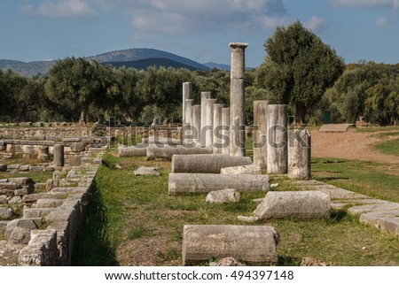 Ruins of the ancient Greek city of Messinia (Messini, Messenia), Peloponnese, Greece