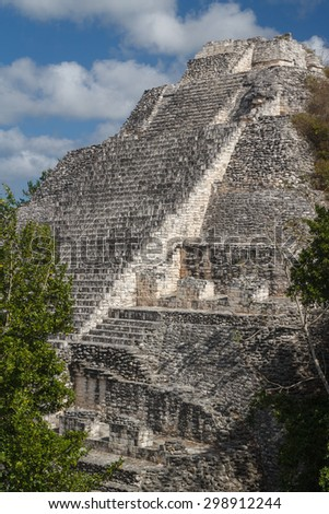Ruins of the ancient Mayan city of Becan, Mexico - stock photo
