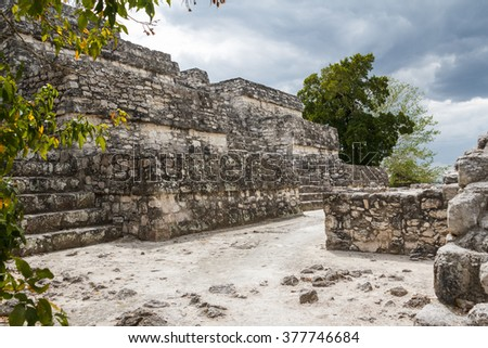 Ruins of the ancient Mayan city of Calakmul, Mexico - stock photo