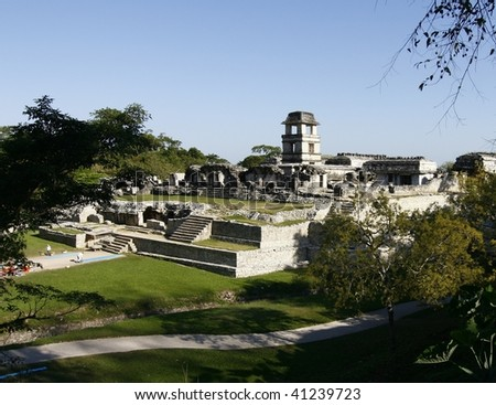 Ruins of the ancient Mayan city of Palenque, in the jungles of Chiapas, Mexico