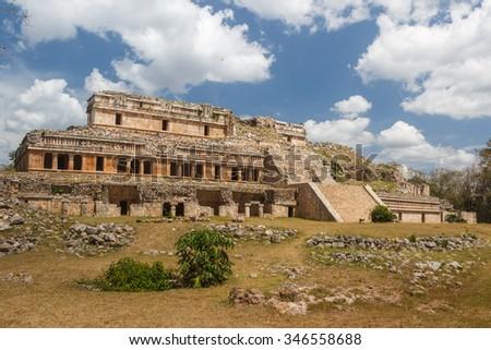 Ruins of the ancient Mayan city of Sayil, Mexico - stock photo