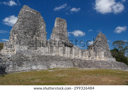 Ruins of the ancient Mayan town of Xpuhil, Mexico - stock photo