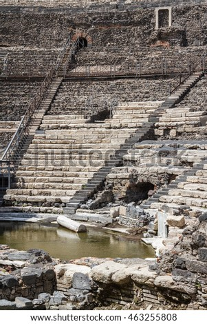 Ruins of the ancient Roman theatre in the historic centre of Catania, Sicily island, Italy