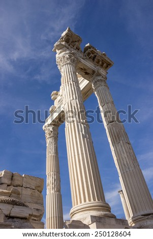 Ruins of the ancient temple of Trajan in Bergama Acropolis, Turkey. Columns and fronton parts. - stock photo