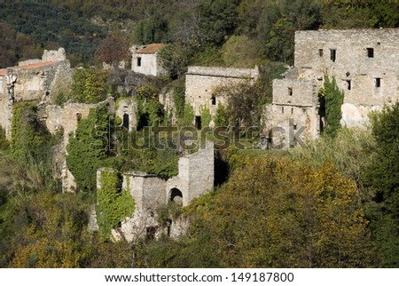 Ruins of the ancient village in Liguria region of Italy - stock photo